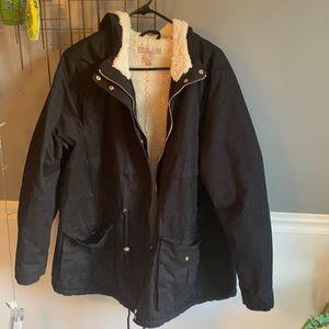 H& M. Black winter hoodie. Coat Sz 22